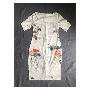 Zara Woman floral short sleeve midi dress